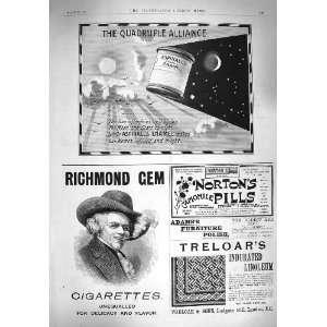 1895 ADVERTISEMENT RICHMOND CIGARETTES NORTONS PILLS