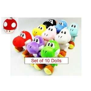to Find Nintendo Yoshi Super Mario Brothers Set of 8 Plush 7 Yoshi