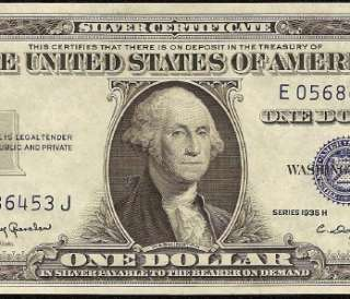 CH UNC 1935 H $1 DOLLAR BILL SILVER CERTIFICATE BLUE SEAL NOTE Fr 1618