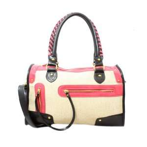 Nila Anthony Pink Straw Duffle Bag W/ Zipper Pocket