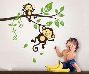 Monkey Branch Tree Vine Nature Vinyl Wall Paper Decal Art Sticker Q211