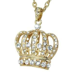 Charm Pendant Gold Tone White Crystals with 32 Rollo Chain Jewelry
