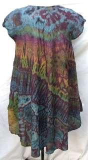 COTTON Flare Tunic LONG TOP Shirt Dress XL Boho Gypsy SS2274