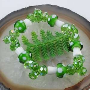 Apple Green Swarovski Crystal Lampwork Beads Bracelet