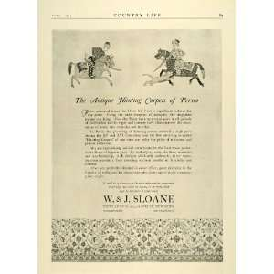 1924 Ad W. J. Sloane Antique Persia XV XVI Period Hunting