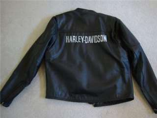 Harley Davidson Classic Leather Jacket w Zip Liner Mens Large OR