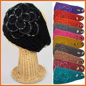 Handmade Hand knit Head Wrap Ski Headband Scarf Sequin Floral Ear Neck