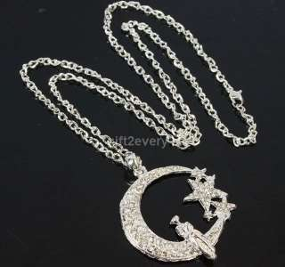 2x star heart moon lady pendant swarovski crystal long chain necklace