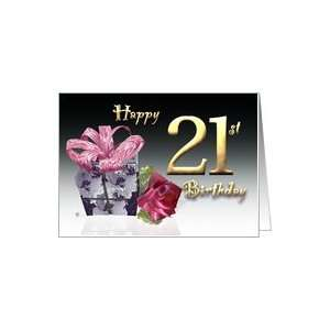 Gift box red rose birthday card Happy 21st Birthday pink