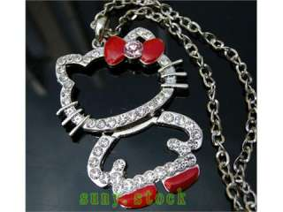 Beautiful hello kitty crystal folding necklace red L58
