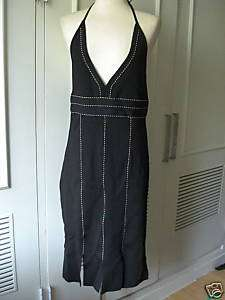Herve Leger bandage black white halter jersey dress L