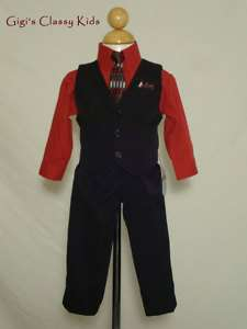 New Toddler Boys Red Black Suit Outfit Set Christmas Easter Holiday