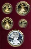 1995 W American Eagle 10th Anniversary Proof Gold & Silver Coins