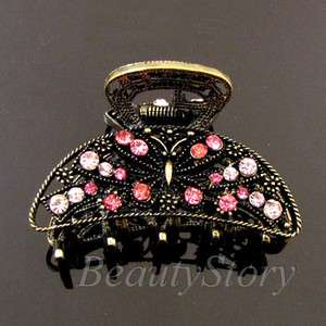 ADDL Item  1 pc rhinestone crystal Antiqued hair claw