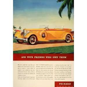 1934 Ad Packard Motor Car Co. Yellow Convertible Auto