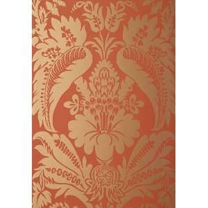 Montebello Damask Russet by F Schumacher Wallpaper