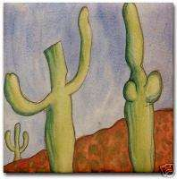 Diego Rivera Painting Desert Cactus Ceramic Art Tile