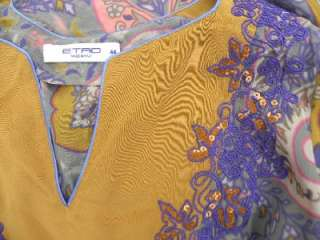 100% AUTHENTIC ETRO 100% silk gorgeous tunic blouse, with pailettes