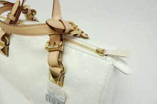 MICHAEL KORS MK GRAYSON LARGE SATCHEL MONOGRAM MIRROR White Handbag