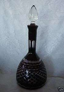 Ruby Red Hand Blown & Cut to Clear Wine Decanter / Bottle