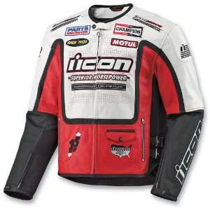 Icon Mens Victory Hero Leather Motorcycle Jacket Red Large