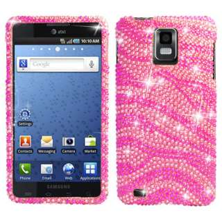 Pink Zebra Bling Snap On Cover Case for Samsung Infuse 4G w/Screen