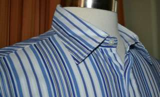 HUGO BOSS LONG SLEEVE BLUE WHITE STRIPE COTTON NYLON SPANDEX SHIRT
