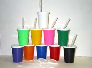 100 SMALL PLASTIC DRINKING GLASSES LID STRAW CUP OPAQUE