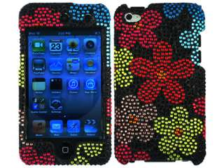 RHINESTONE BLING CASE COVER APPLE ITOUCH 4 4G FLOWERS RED BLUE BLACK