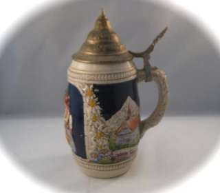 Vintage Handgemalt German Lidded Beer Stein Mug Collectible DBGM