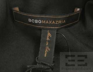 BCBG Max Azria Black & Silver Zipper Detail Belted Sleeveless Dress