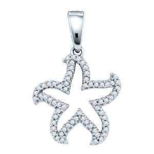 10 Karat White Gold Diamond Micro Pave Starfish Shaped Pendant Covered