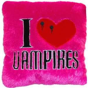 14 I Love Vampires Embroidered Accent Pillow   High Quality Plush