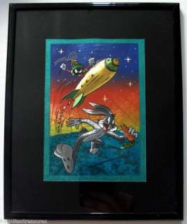 BUGS BUNNY MARVIN THE MARTIAN on ROCKET Framed Foil Art