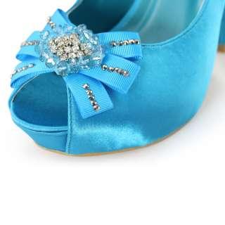 wedding dress blue satin flower peep toe platform heels shoes sz