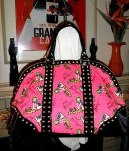 NWT Betsey Johnson AS SURFER GIRL Dog ROSE SURFBOARD Stud Bag