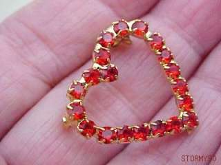 VALENTINE PRONG SET RED RHINESTONE HEART PIN BROOCH