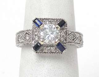 INTRICATE 14k WHITE GOLD DIAMOND SOLITAIRE ACCENTS RING