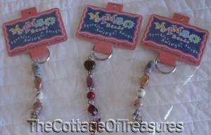 LOT 3 KEYCHAIN KEY RING MAMBO BEADS SILVER TONE CHARMS