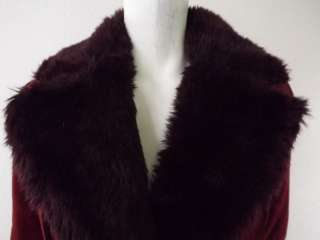 Womens leather fur jacket burnt red Steve Madden S button
