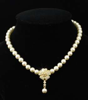 Ivory Color Cream Shell Pearl Bridal Necklace C037