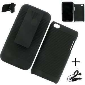 Apple iPod Touch 4G HOLSTER CASE BLACK + CAR CHARGER Cell