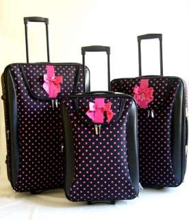 Piece Luggage Set Travel Bag Pink Dots Rolling Wheel