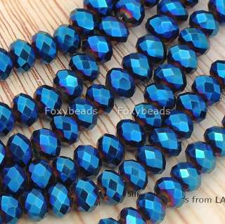 Blue Faceted CrystaL Glass Rondelle Loose Beads Jewels 15L