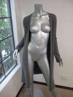 White + Warren Gray Long Sleeve Long Draped Cashmere Sweater S