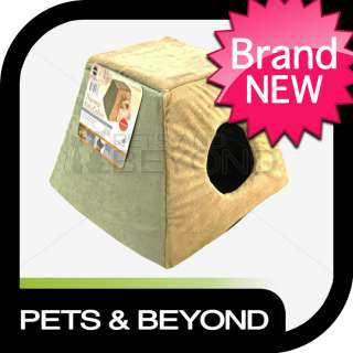 INDOOR HEATED SMALL/LITTLE DOG CAT/PET THERMO KITTY CABIN BED SAGE