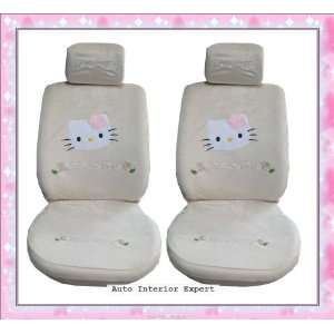 HELLO KITTY UNIVERSAL CAR SEAT COVER SET BEIGE LUXURY H19X Automotive
