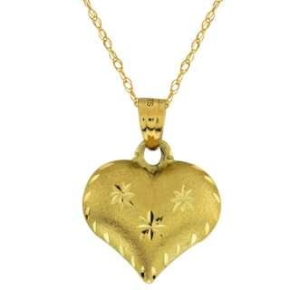 Beautiful 10K Yellow Gold Puff Heart with Star Pendant & 18 Chain