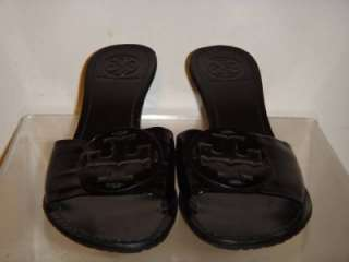 New Womens Black Patent Leather Slide Sandals Shoes Size 6 M