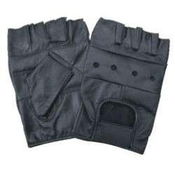 New Fingerless 100% Genuine Leather Padded Palm Half Biker Work Gloves